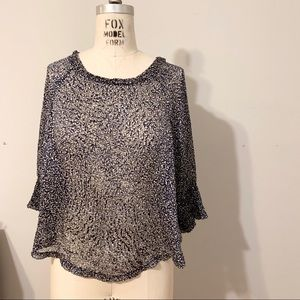 Burnout silk patterned top with dolman sleeves